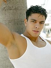 Latino stud posing outdoors