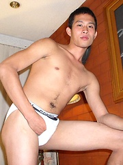 Stud from Asia grabs own cock