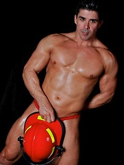 Firefighter Sebastian Stone shows off his ass and body