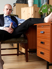 Horny guy plays with his hard cock before a job interview