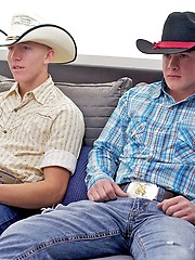 Couple of young cowboys masturbation