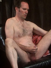 Mature gay jerks his penis until it cums