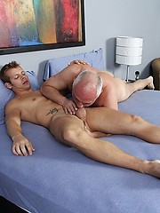 Silver-headed gay Jake loves young cock and hole