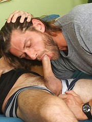 Long haired man using his big dick with cock-hungry dude