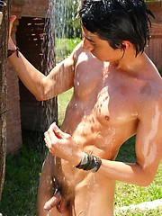 Wet twinks brandishing their hard-ons in the sun