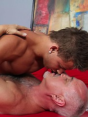 Silver mature gay Jake get fucked by younger stud