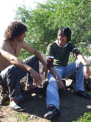 Horny boys make xxx picnic outdoors
