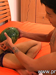 Asian lover Kan Malay with some horny watermelon fun