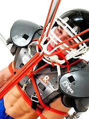 Bounded jock in footbal uniform pics