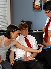 Three college boys playing with flashjack before threesome anal