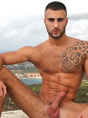 Gay pornstars have outdoor thrreesome at Ibiza