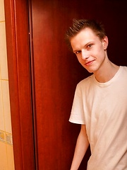 Handsome slim fabulous teen boy solo session in bathroom