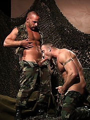 Military hunks servicing each other cum cannons