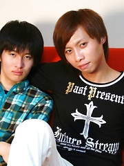 Japanese gay boy Yuu being spanked and cuddled by Tsuyoshi