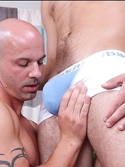 Gay man Tommy sits back and lets his friend ride his big dick