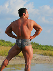Handsome muscle man showing his smooth bubble butt