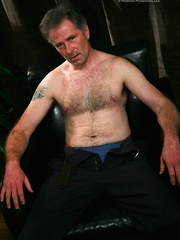Mature man strokes dick and cums on own silver hairy chest