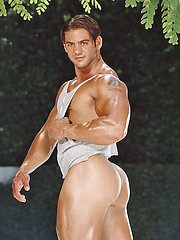Muscled man posing naked