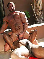 Hot hunks interracial coupling in the pool