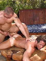Muscled hunks fucking outdoor