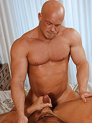 Bald daddy licks cock and then rides it