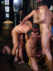 Muscled cowboys have wild groupsex