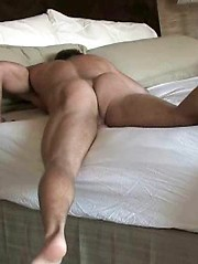 Sexy college dude jerking at sunny morning
