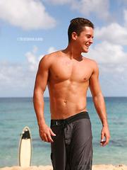 Hawaian surfer jock posing naked