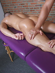 Horny massage and handjob for lucky guy