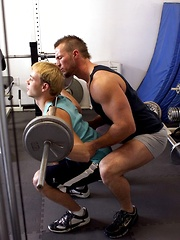 Gay trainer shows real hard sex for his gym partner