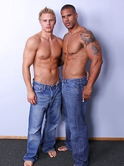 Muscled latin man have sex with white beefy blond