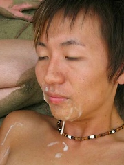 3 hot studs with huge big cocks and massive cum shoot their loads all over a sweet boy\\\\\\\'s eager face.