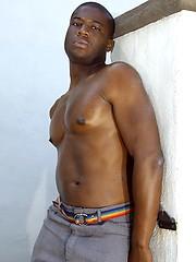 Hot black stud Justin jerking off dick