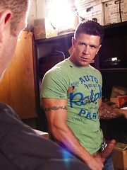 Two hot gay buddies have anal in the garage