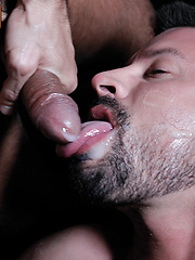 French gay pornstar Issac Jones shoots his cum down Kyle Kings throat