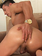Edin is rock hard as he starts to stroke his uncut cock