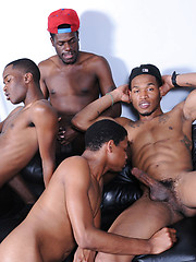 Some oral and anal action between group of black thugs