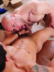 Male Nathan takes care of Gios big uncut cock
