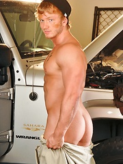 Naked mechanic relaxing after hard work day