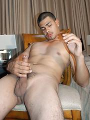 Mexican man masturbates his curved dick