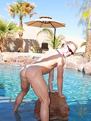 Chris claims to be a power bottom so I invite him over for a pool-side audition and put that tight ass to the test