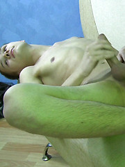Young, smooth twink Sergei joins us on the couch for a jerk-off session