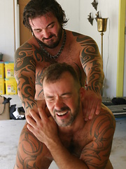 Hot and sweaty Muscle Bear Rock Ramsey walks up on the sexy and furry Steve King