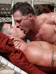 Trenton Ducati bangs Brenden Cage near the outside pool