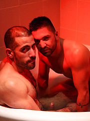 Two hairy guys Dominic Pacifico and Michel Rudin with their fat, uncut cocks make bath time a real treat
