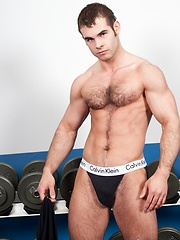 Enjoy the hot, hairy, muscular body of the adorable Abele Place