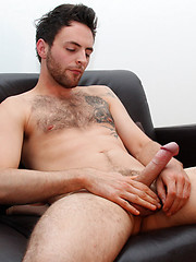 Hairy and sporty hunk Riley Tess really works his long uncut cock before shooting and eating his jizz!