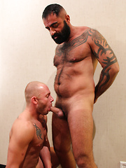 Hairy and tattooed Tom Colt walks in Preston Johnson