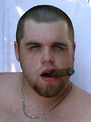 Beefy Bryce fires off a hot load of jizz across his belly
