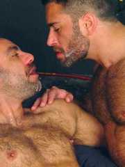 Spanish muscle bears Manu and Edu love to suck each other big uncut cocks